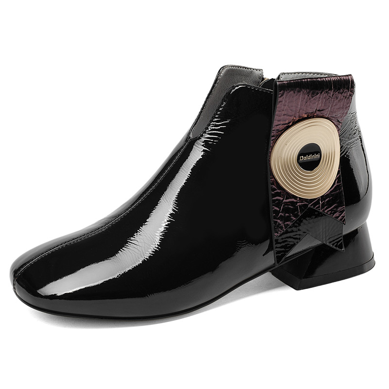 FEDONAS marque Design nouveau automne hiver femmes chaussures talons hauts bottines Chunky talons hauts en cuir verni dames chaussures femme-in Bottines from Chaussures    2