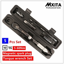 MXITA 5 Pcs Magnetic spark plug torque wrench Set Click Wrench Adjustable Torque Wrench Hand Spanner Repairing hand tool set