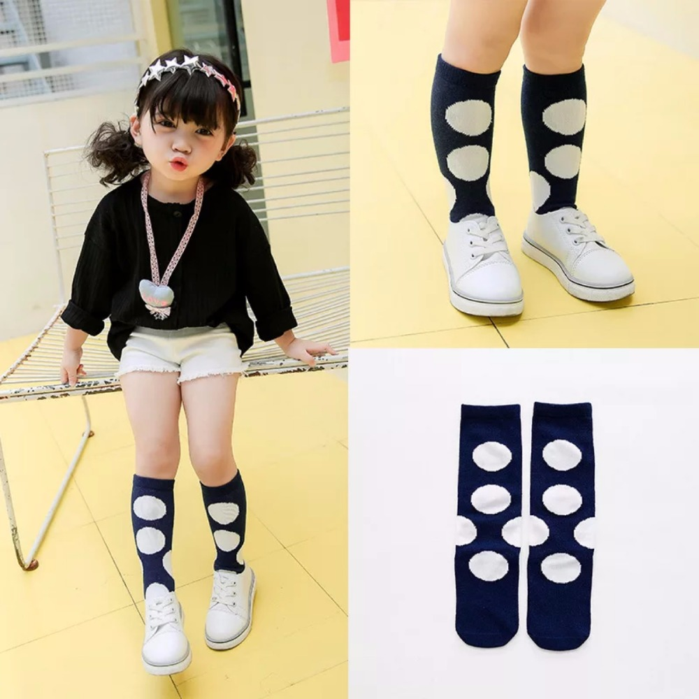 New autumn socks Kids Long Socks Knee High toddler Girls Boot Sock Leg Warmer Cute Dot Black baby Cotton Sock for baby girls