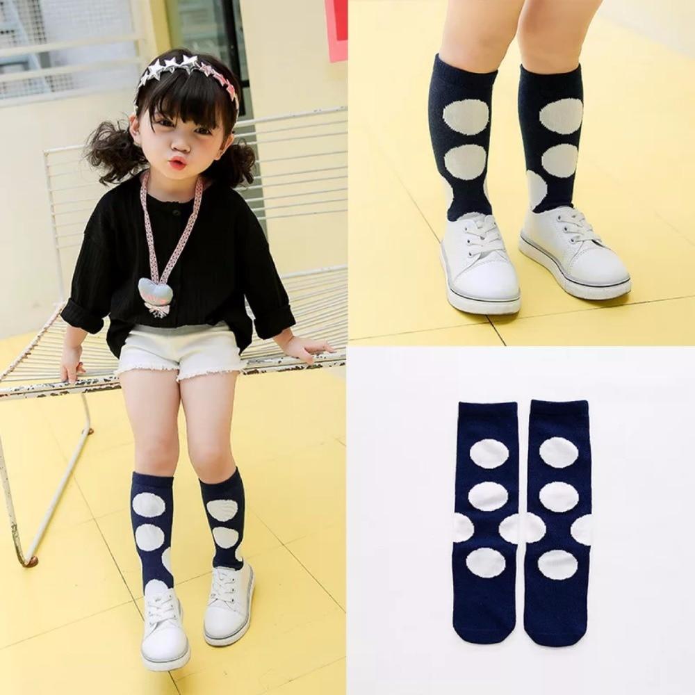 New autumn socks Kids Long Socks Knee High toddler Girls Boot Sock Leg Warmer Cute Dot Black baby Cotton Sock for baby girls