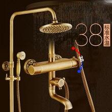 Настенное Крепление 8 дюймов Термостатический Ванной Смеситель Для Душа Смесители Двойной Ручки С Ручным Душем Античная Отделка XE-8899