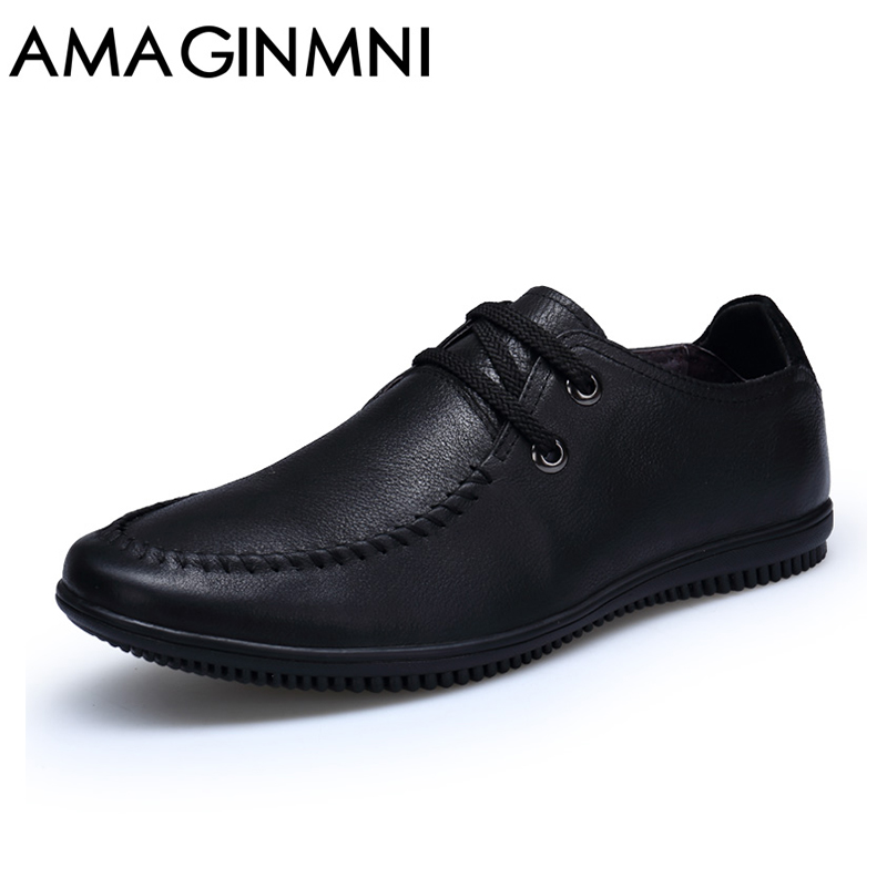 AMAGINM High Quality hot sale men genuine leather shoes washing distressed men's fashion flat shoes lace up male casual footwear bosch 2607019451