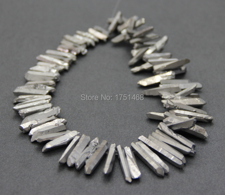 Silver Titanium <font><b>Crystal</b></font> Quartz Necklace Point <font><b>Pendant</b></font>, Top Drilled Beads <font><b>Raw</b></font> <font><b>Crystal</b></font> Quartz Electroplated Druzy <font><b>Pendants</b></font> image