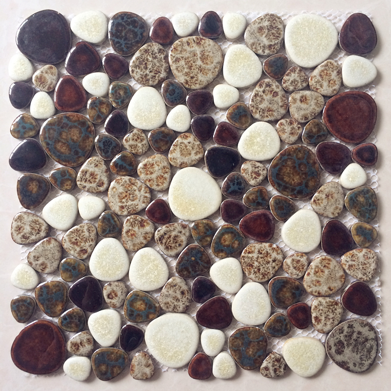 Pebble Brown Ceramic Mosaic Bath shower floor kitchen backsplash swimming pool fireplace home improvement wall art tiles,LSYB17 art ceramic