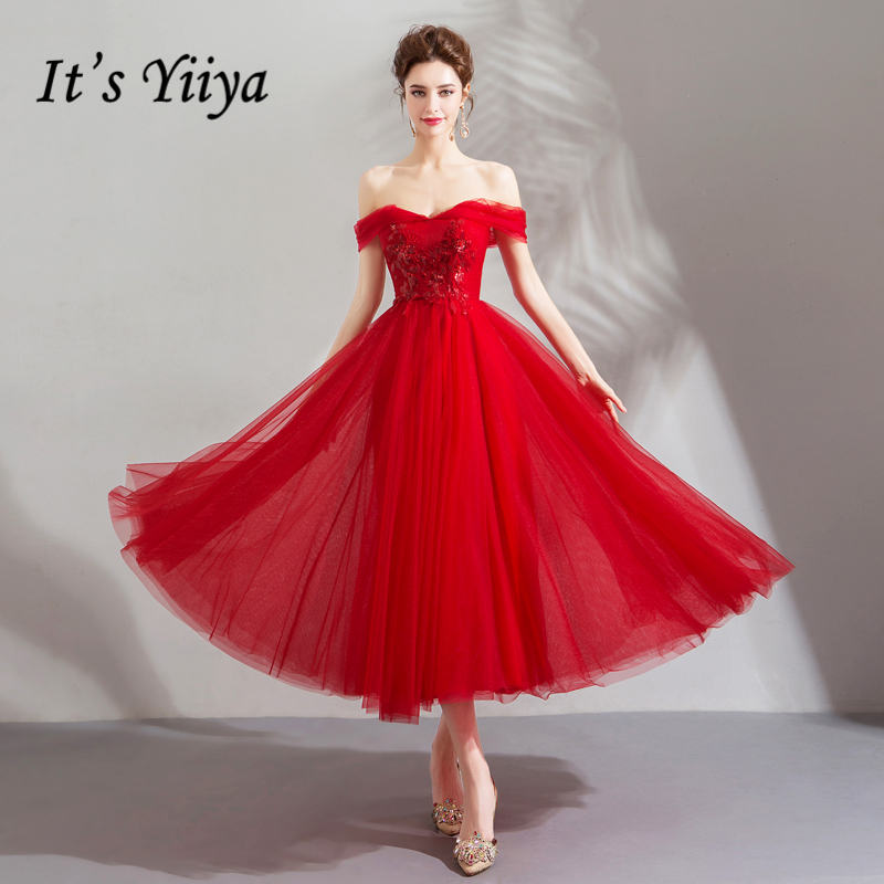 It's YiiYa   Prom   Gowns Red Boat Neck Tulle Tea-length Simple A-line Off Shoulder Sleeves Custom Plus size   Prom     Dresses   2019 E211
