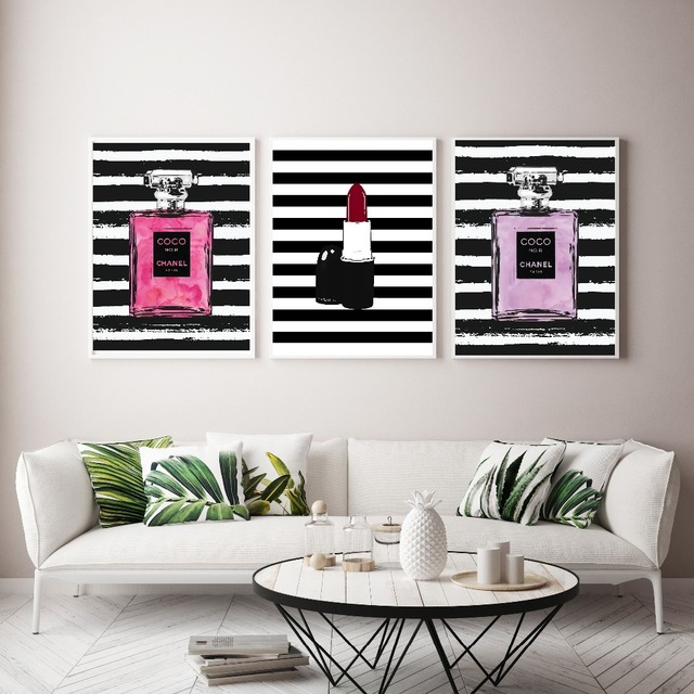 Nordic Abstract Lipstick Coco Perfume Bottle Wall Art Canvas Painting Modern Pictures For Living Room Home Decor No Frame
