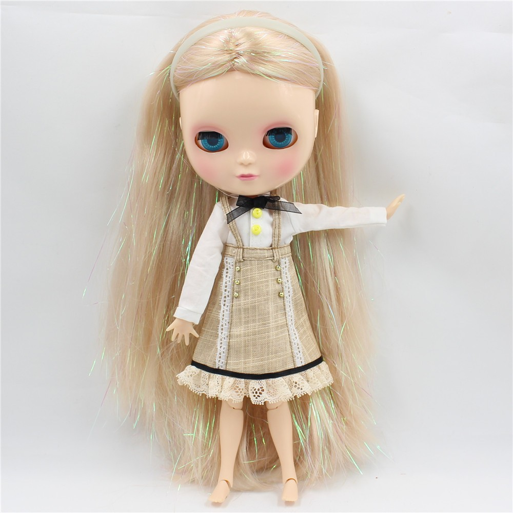 Neo Blythe Doll with Blonde Hair, White Skin, Shiny Face & Jointed Azone Body 2