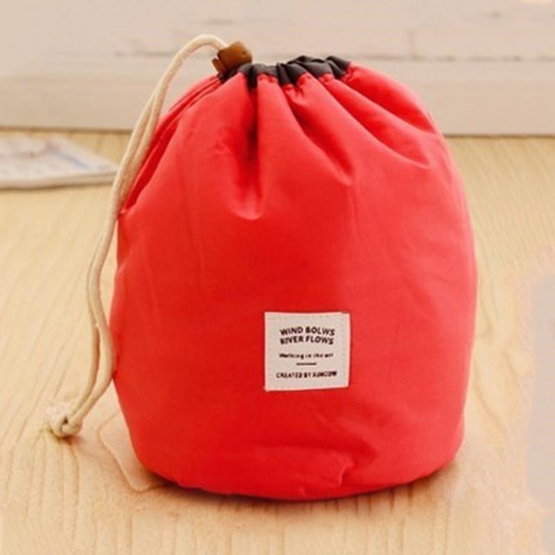 Waterproof Bucket Barrel Shaped Cosmetic Bag Drawstring Makeup Bag Beauty Case Travel Storage Organizer Large Toiletry Bag drawstring wrap around makeup bag