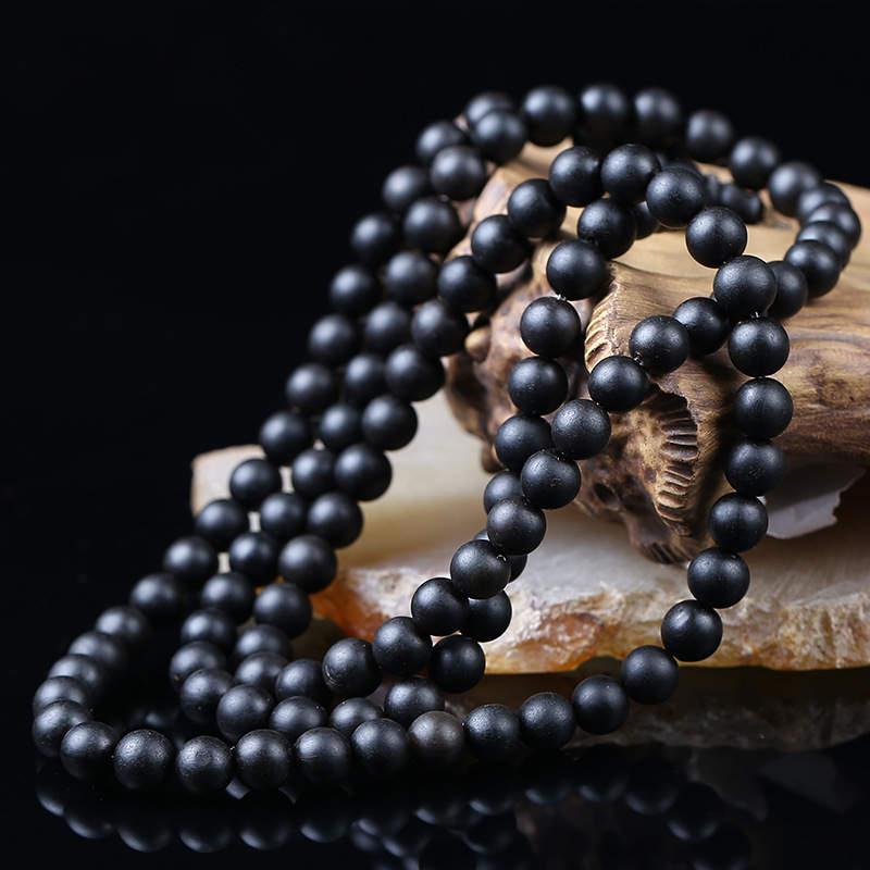 Prayer-Beads Round Natural-Black 10mm Mala for Man TSB0510 6mm 7mm 8mm 9mm Water-Buffalo