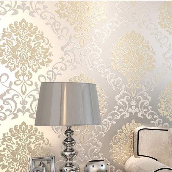 Europe damask classical designs glitter wallpaper for wall for Papel de pared plata