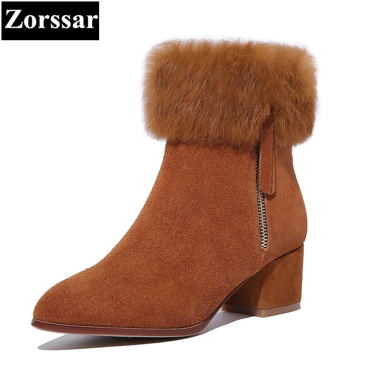{Zorssar}2017 NEW arrival ladies big size shoes cow suede pointed Toe High heels ankle snow boots winter warm womens shoes heels new 2017 spring summer women shoes pointed toe high quality brand fashion womens flats ladies plus size 41 sweet flock t179