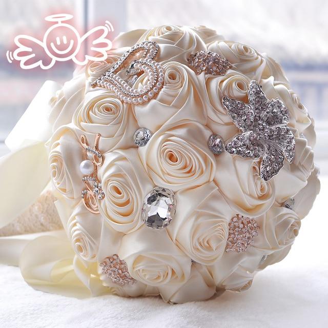 Flowers Bridal Bouquets Pearl Crystal  Bridesmaid Brooch with Silk Ribbon Rhinestone artificial flower wedding Bridal bouquet 62