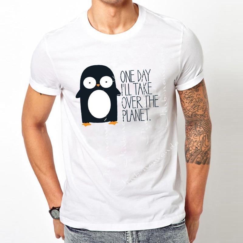 fb6e649e3 Kawaii Penguin Print Top Plus Size ONE DAY I'LL TAKE OVER THE PLANET Funny  T Shirts Men Harajuku Man's T-shirt T-R1196