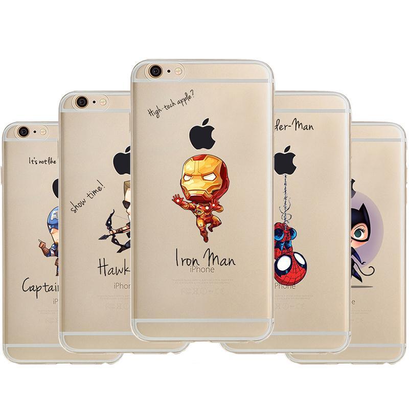 2016 Brand New Transparent Cartoon Batman For Apple iphone 6 4 7 Avengers Back Design Phone