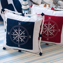 Cojines decorativos Mobiliario Mediterráneo Ancla de Mar Azul Marino Bordado fundas de Colchón Funda de Almohada Lienzo Para Brújula