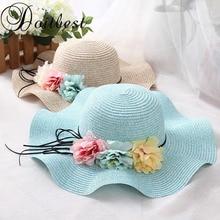 Doitbest/Розничная, 5 цветов, летняя детская соломенная шляпа с цветком, простая волнистая соломенная шляпа с большими полями для мальчиков и девочек, пляжные шляпы, шляпа от солнца для родителей и детей