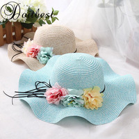 Doitbest/Розничная продажа, 5 цветов, летние детские цветочные простые волнистые крупнозернистая солома шляпы для мальчиков и девочек, пляжные ...