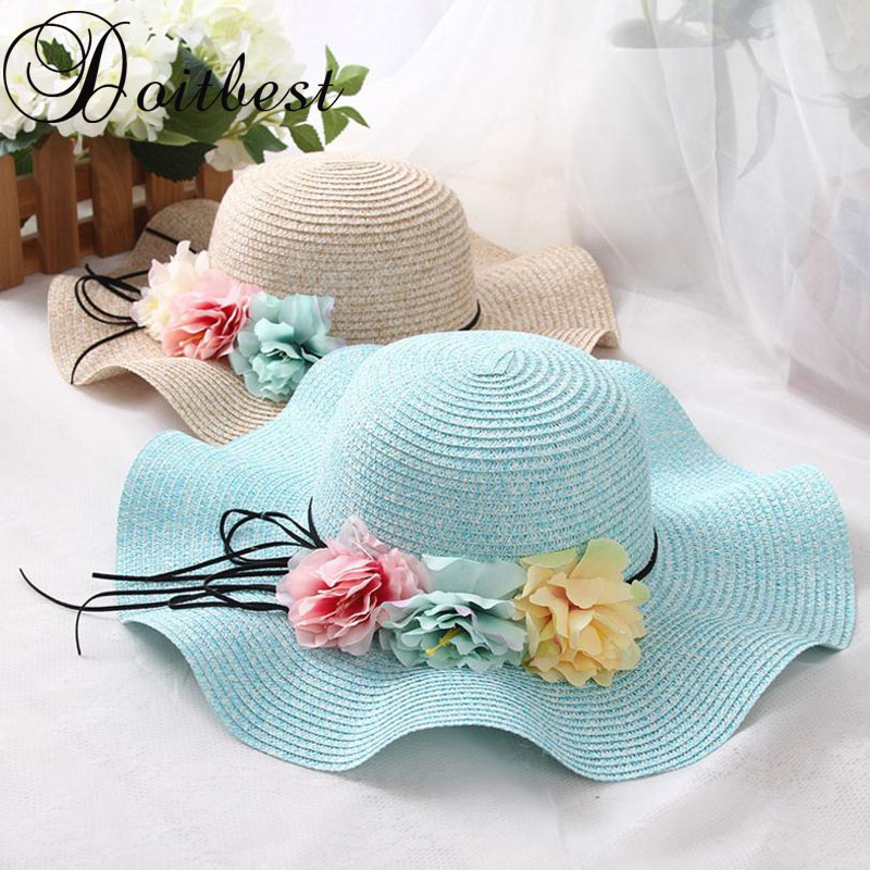 Doitbest Retail 5 colors Summer Children flower Simple Wavy large brimmed straw hat boys girls Beach Hats Parent-child sun hat image