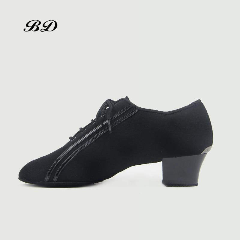 Sneake chaussures de danse chaussures latines salle de bal hommes chaussure moderne JAZZ Slip-UP noir Oxford tissu carré talon 4.5 CM adulte et garçon chaussures