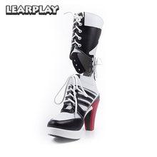 368867a0b1166e Harley Quinn Cosplay Botas de Salto Alto Sexy Mulheres Meninas Sapatos de  Festa do Dia Das Bruxas Acessórios Do Traje Canival XZ.