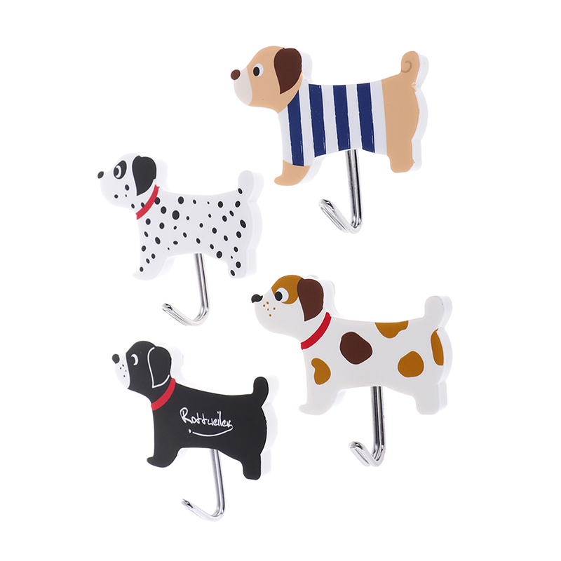2pcs Adhesive Hook Kitchen Cute Dog Non-trace Stick Hooks Bathroom Animal Wall Door Hanger Organizer Sundries Hooks Towel Hanger