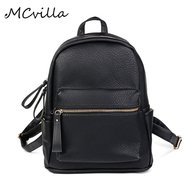 03fce9ce9b 2018 Women Backpack Genius Leather Children Backpack Mini Backpack Women s  Cute Backpacks Teenage Girls Black Travel