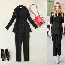 2017 fashion suit suit + pants women's professional suit jacket, long paragraph temperament leisure two sets of trousers tide