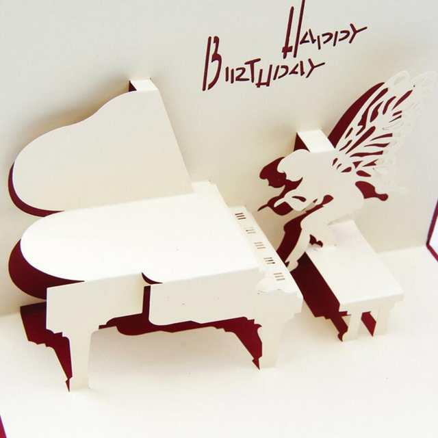 Online Shop 3pcs Lot Piano Birthday Card 3D Kirigami Pop Up Handmade Angel Greeting Gift Cards Happy Day