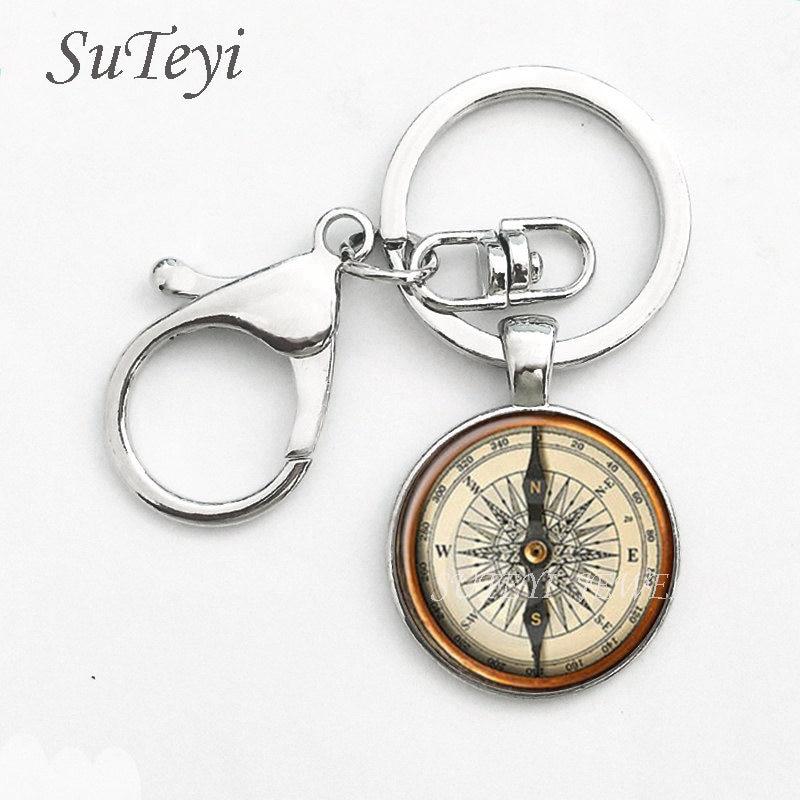 SUTEYI Steampunk Compass Pendant Key Chain Vintage Compass Jeweley Vintage Compass Keychain Ring Round Glass Cabochon Wholesale