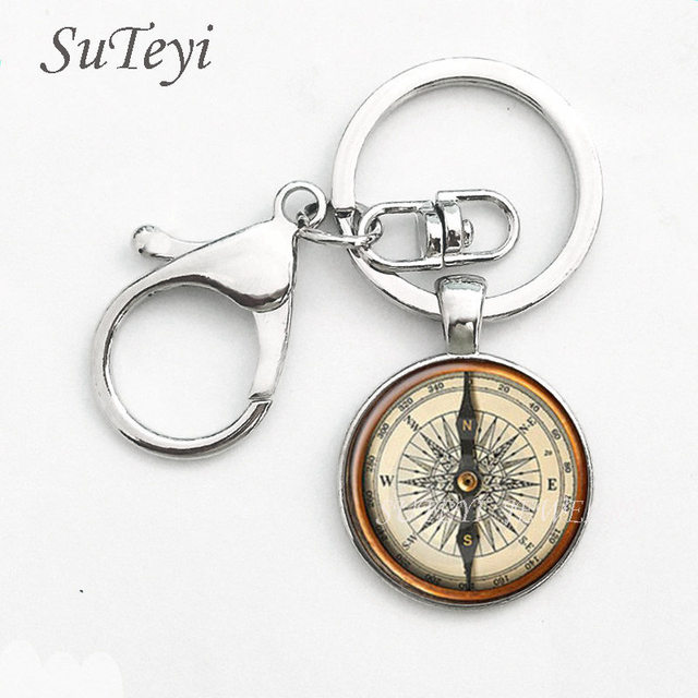 SUTEYI Steampunk Compass Pendant Key Chain Vintage Jeweley Keychain Ring Round Glass Cabochon