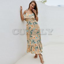 CUERLY Summer Long Floral Dress Women Elegant Chiffon Robe Chic Print Ruffle Sexy Strap Sundress Boho Backless Beach Maxi