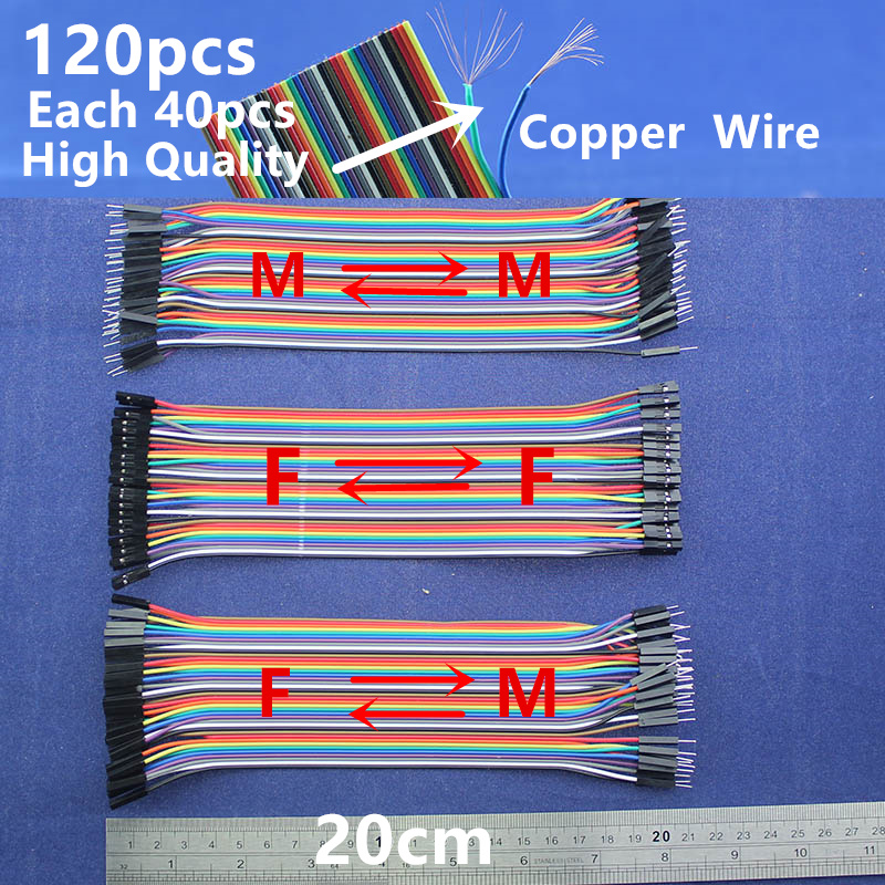 High quality Copper Wire Dupont line 120pcs 20cm Male to Male /Male to Female/Female to Female jumper wire cable /For Arduino 40pcs dupont cable jumper wire dupont line female to female dupont line 20cm 1p 1p for arduino