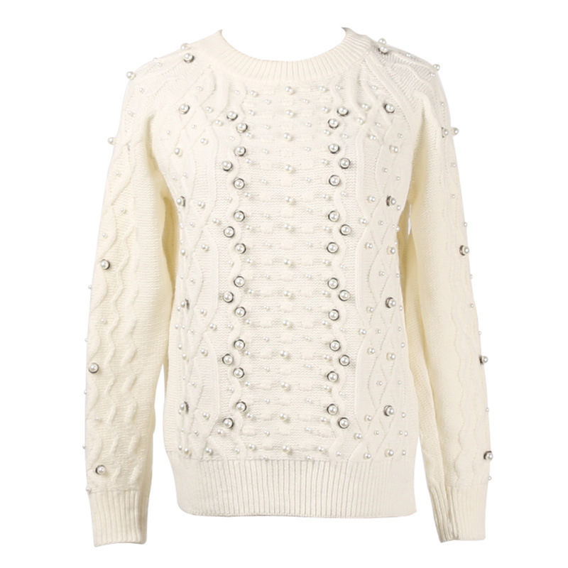 American new heavy duty ordered pearl button pattern diamond geometric round collar long sleeve knitted sweater woman