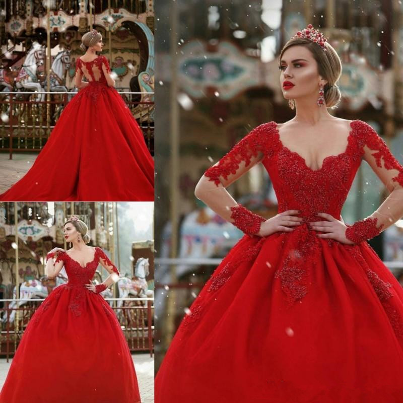 Red Ball Gown Dresses: 2019 Red Wedding Dresses Ball Gown Long Sleeves V Neck