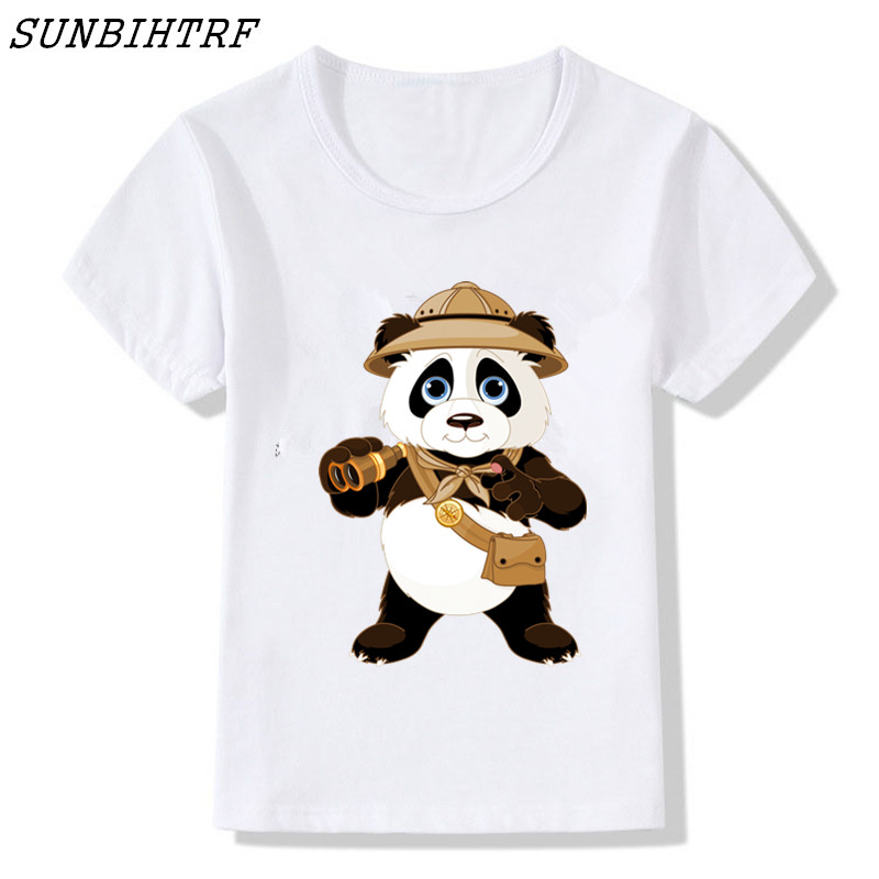 2018 Children Donut Police Panda Funny T-shirts Kids Summer Cute Children Short Sleeve T Shirt Girls&boys Animals Baby Clothes
