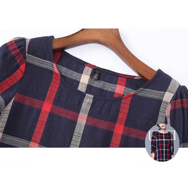 Autumn Cotton Linen Three Quarter Sleeve Casual Vintage Loose Plaid Women Tops&Tees Plus Size Oversized Shirts