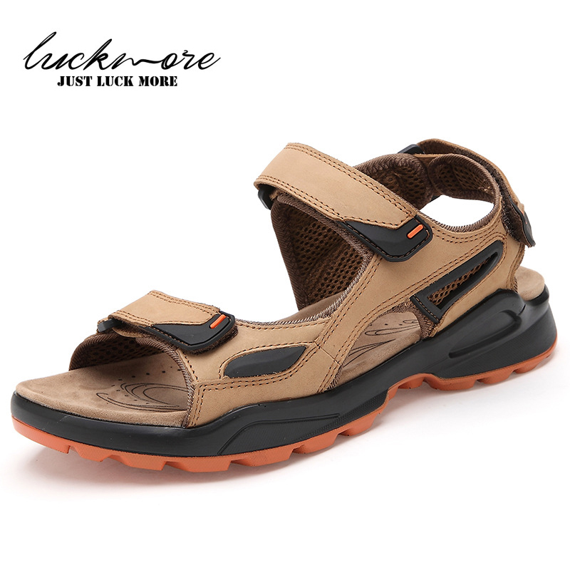 2017 Summer Fashion Genuine Leather Mens Beach Sandals Comfortable Casual Man Shoes For Men sandalen Size 39~44 High Quality