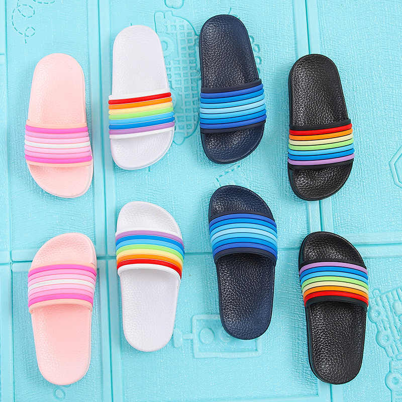 Baby Kids Girls Boys Slippers Toddler Water Children Flip Flops Barefoot Child Rainbow Striped Shoes Swimming Summer for Kids