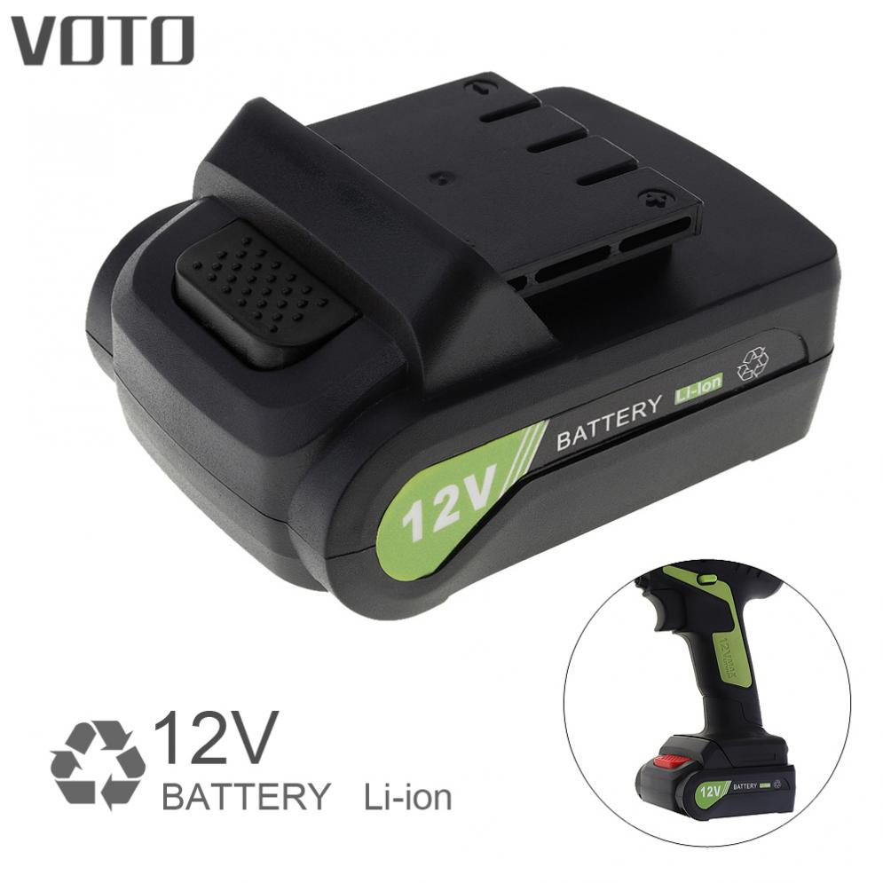New VOTO Universal 12V Max Li-ion Rechargeable Battery with Flat Push Type for Electric Drill / Electric Screw Driver