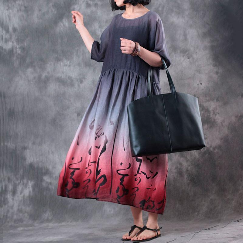 Col Dame Femmes Robe Casual Moitié Élastique Taille The Manches Maxi Buykud Gradient 2018 Rond D'été Imprimé Mode Pics Drapé As lTFKc1J