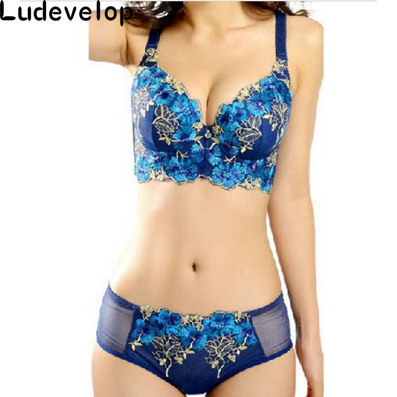 high quality deep V brand sexy big size push up bra set floral embroidery lace women underwear set bra and panties 32-38ABCD
