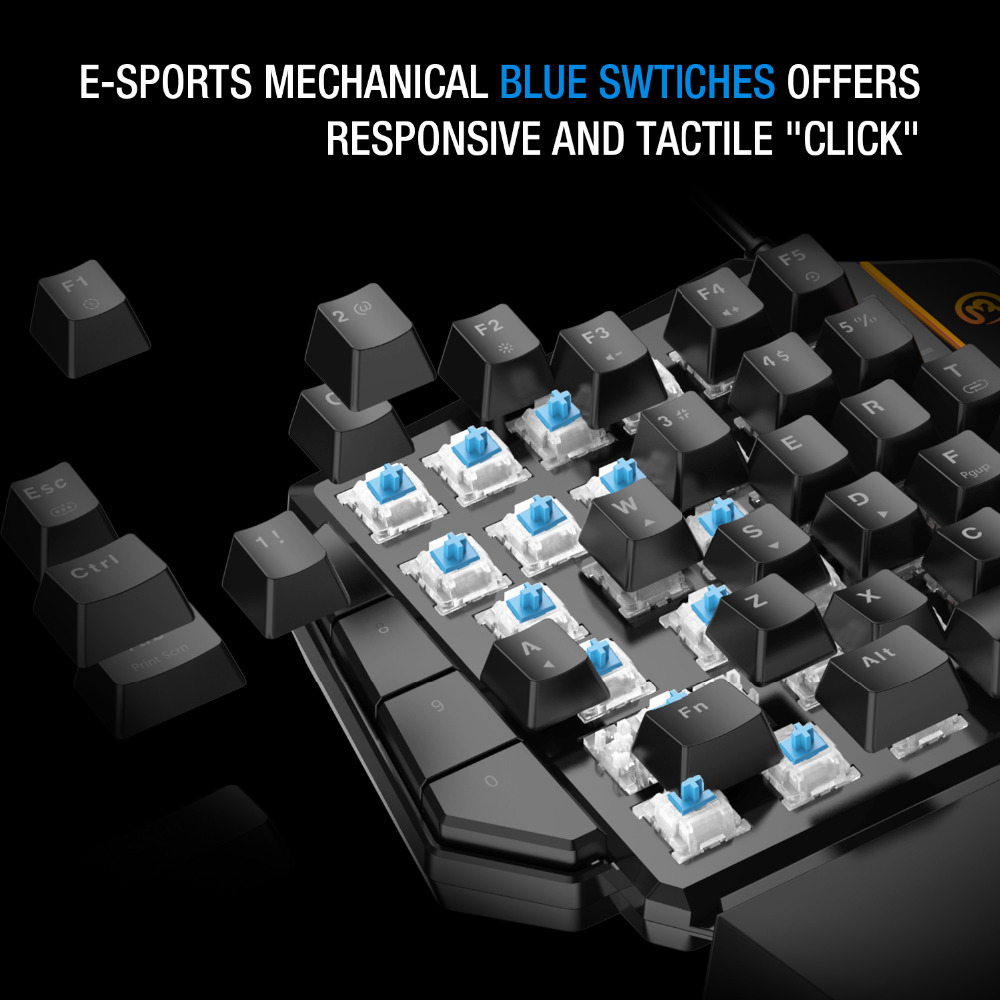 GameSir GK100 One/Single Hand USB Wired Mini Keyboard Mechanical Blue  Switches PC Gaming Keypad for FPS GameSir X1 LED Light