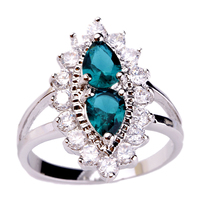 New Fashion Retro Baroque Style Rings Green Topaz 925 Silver Ring Size 6 7 8 9 10 For Women Jewelry  Wholesale Free Shipping