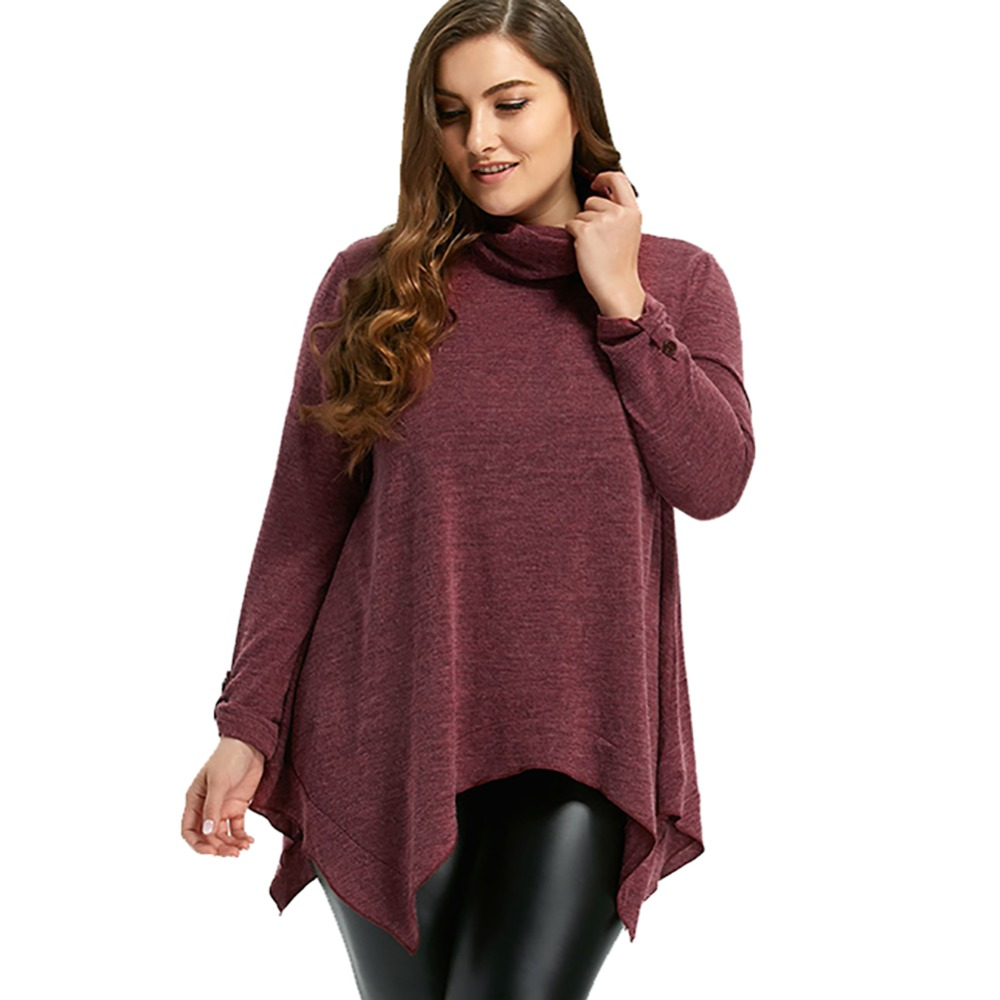 Autumn Women Casual Loose Bow Solid Color Large Size Full Sleeve Irregular Sweaters