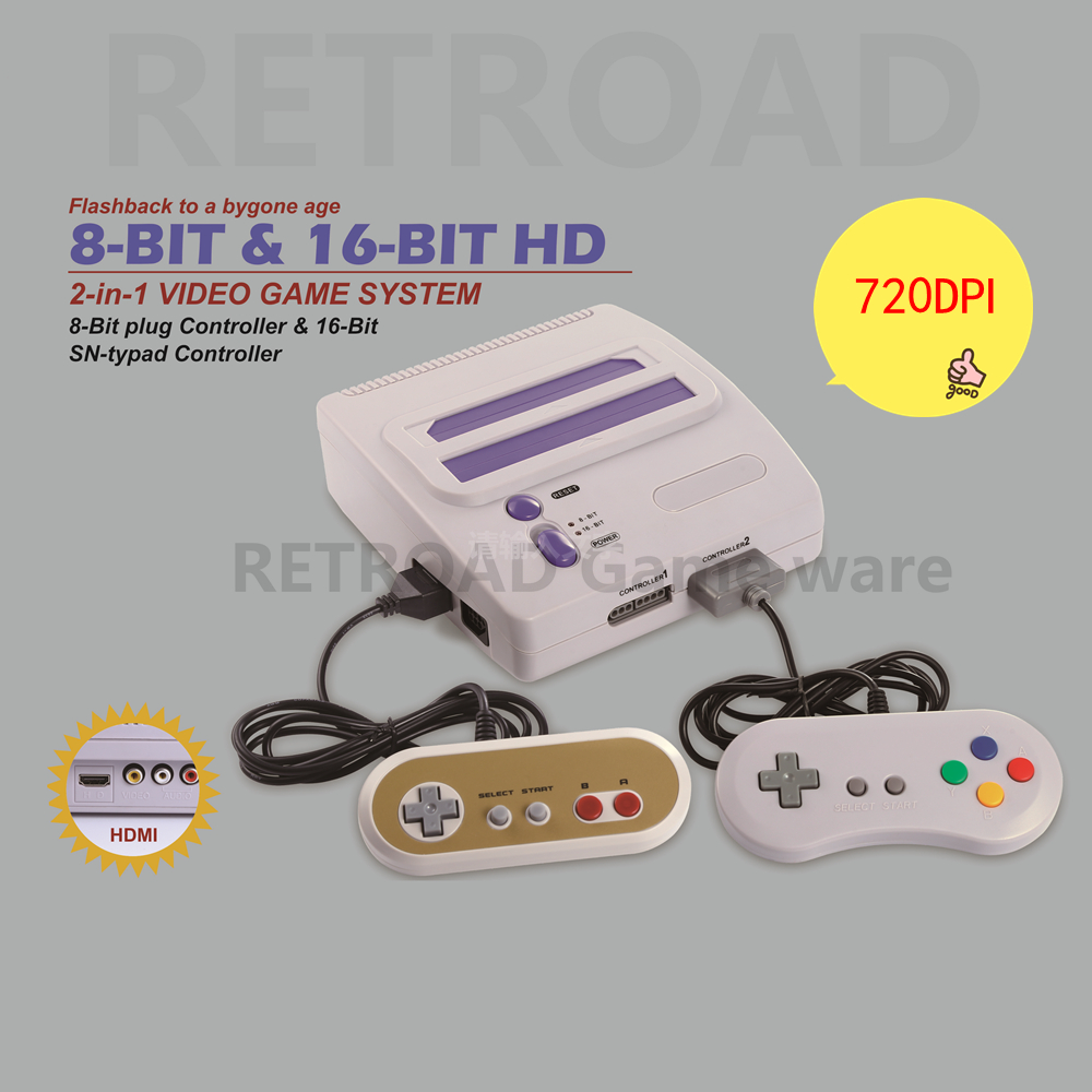 2017 Newest RETROAD 8bit 16 Bit Entertainment Dual System With HD Function Game Console