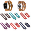 High Quality Double Buckle Cuff Litchi Genuine Leather Bracelet Band for Apple Watch Series 2 Strap for iWatch 1st 42mm 38mm