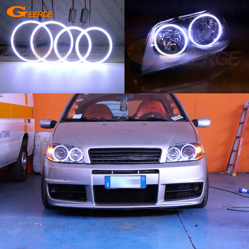 For FIAT PUNTO Mk2 2B 2003 2004 2005 2006 Excellent angel eyes Ultra bright illumination COB led angel eyes kit halo rings free shipping vland factory for is200 is300 led headlights 2001 2202 2003 2004 2005 angel eyes plug and play