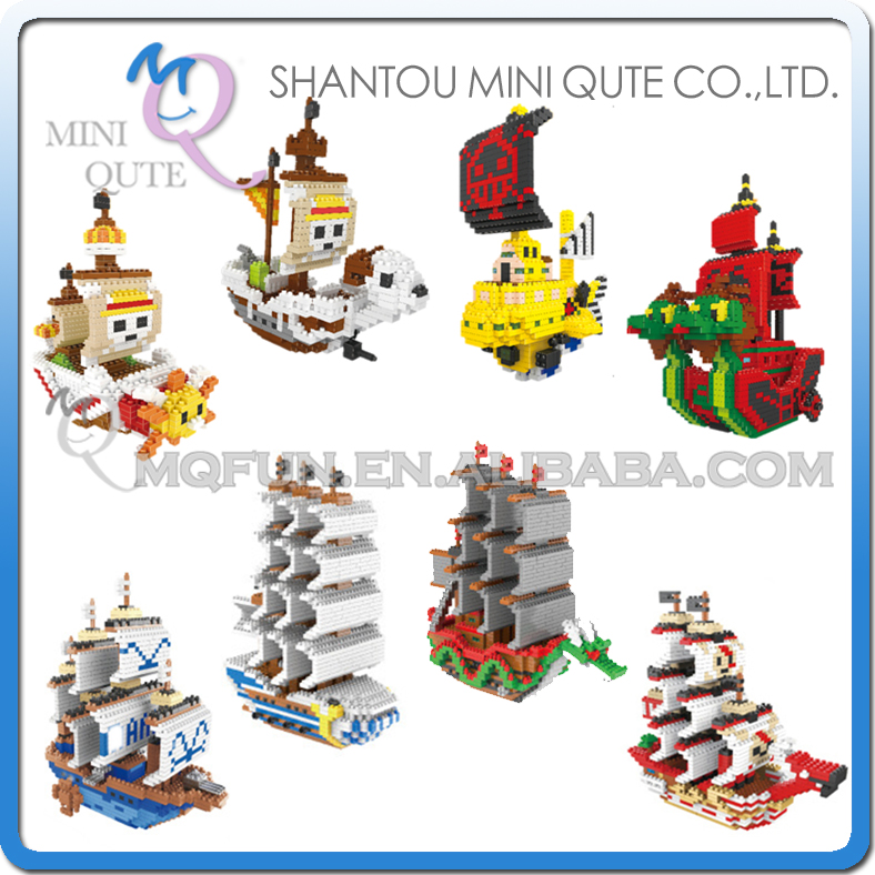 Mini Qute Lele Brother Anime one piece Chopper Luffy pirate Garp Navy Red Hair Ship building block cartoon model educational toy
