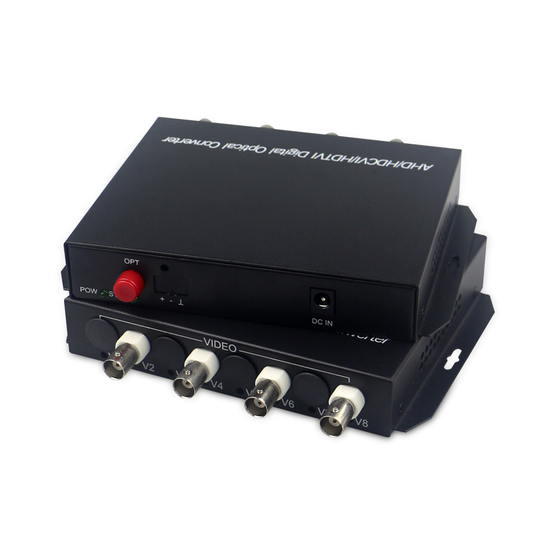 High Quality 1080p cvi ahd TVI fiber optic to coaxial converter 4 CH video fiber optic transmitter single mode single fiber 10KM