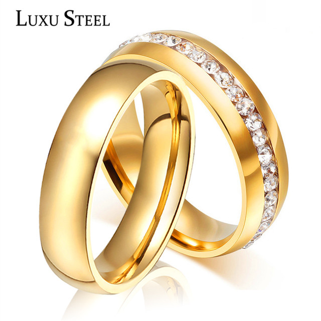 luxusteel promotion classic stainless steel couple anniversary wedding ring for men women gold color - Wedding Ring For Men